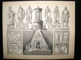 Statues/Sculpture 1857 Antique Print. 11